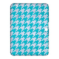 Houndstooth1 White Marble & Turquoise Colored Pencil Samsung Galaxy Tab 4 (10 1 ) Hardshell Case  by trendistuff