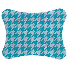 Houndstooth1 White Marble & Turquoise Colored Pencil Jigsaw Puzzle Photo Stand (bow) by trendistuff