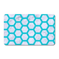 Hexagon2 White Marble & Turquoise Colored Pencil (r) Magnet (rectangular) by trendistuff