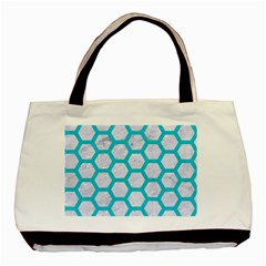 Hexagon2 White Marble & Turquoise Colored Pencil (r) Basic Tote Bag (two Sides)