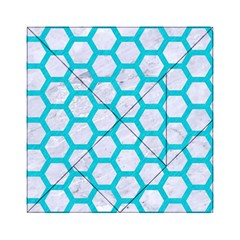 Hexagon2 White Marble & Turquoise Colored Pencil (r) Acrylic Tangram Puzzle (6  X 6 ) by trendistuff