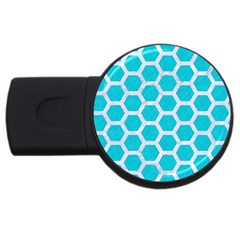 Hexagon2 White Marble & Turquoise Colored Pencil Usb Flash Drive Round (2 Gb) by trendistuff