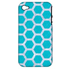 Hexagon2 White Marble & Turquoise Colored Pencil Apple Iphone 4/4s Hardshell Case (pc+silicone) by trendistuff