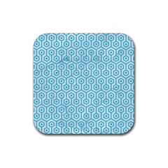 Hexagon1 White Marble & Turquoise Colored Pencil (r) Rubber Square Coaster (4 Pack)  by trendistuff