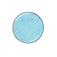 Hexagon1 White Marble & Turquoise Colored Pencil (r) Hat Clip Ball Marker by trendistuff
