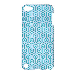 Hexagon1 White Marble & Turquoise Colored Pencil (r) Apple Ipod Touch 5 Hardshell Case by trendistuff