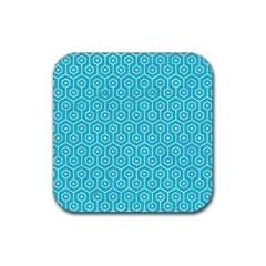 Hexagon1 White Marble & Turquoise Colored Pencil Rubber Square Coaster (4 Pack)  by trendistuff