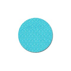 Hexagon1 White Marble & Turquoise Colored Pencil Golf Ball Marker by trendistuff