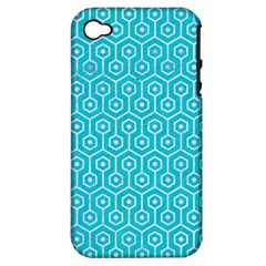 Hexagon1 White Marble & Turquoise Colored Pencil Apple Iphone 4/4s Hardshell Case (pc+silicone) by trendistuff