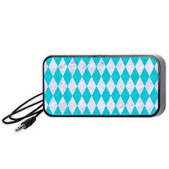 Diamond1 White Marble & Turquoise Colored Pencil Portable Speaker by trendistuff