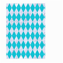 Diamond1 White Marble & Turquoise Colored Pencil Large Garden Flag (two Sides) by trendistuff
