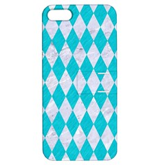 Diamond1 White Marble & Turquoise Colored Pencil Apple Iphone 5 Hardshell Case With Stand