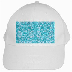 Damask2 White Marble & Turquoise Colored Pencil (r) White Cap by trendistuff