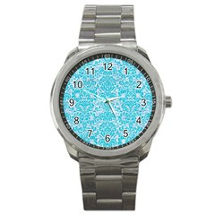 Damask2 White Marble & Turquoise Colored Pencil (r) Sport Metal Watch by trendistuff