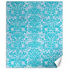 Damask2 White Marble & Turquoise Colored Pencil (r) Canvas 20  X 24   by trendistuff