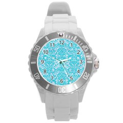 Damask2 White Marble & Turquoise Colored Pencil (r) Round Plastic Sport Watch (l) by trendistuff