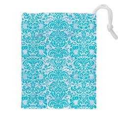 Damask2 White Marble & Turquoise Colored Pencil (r) Drawstring Pouches (xxl) by trendistuff