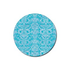 Damask2 White Marble & Turquoise Colored Pencil Rubber Coaster (round)  by trendistuff