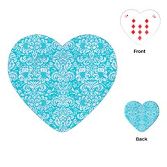 Damask2 White Marble & Turquoise Colored Pencil Playing Cards (heart)  by trendistuff