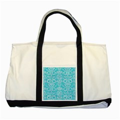 Damask2 White Marble & Turquoise Colored Pencil Two Tone Tote Bag by trendistuff