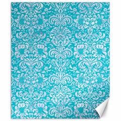 Damask2 White Marble & Turquoise Colored Pencil Canvas 20  X 24   by trendistuff