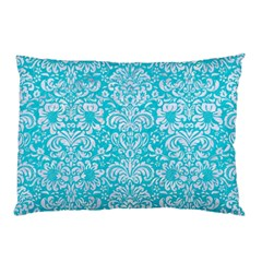 Damask2 White Marble & Turquoise Colored Pencil Pillow Case by trendistuff