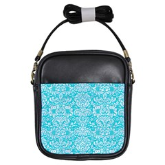 Damask2 White Marble & Turquoise Colored Pencil Girls Sling Bags