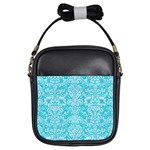 DAMASK2 WHITE MARBLE & TURQUOISE COLORED PENCIL Girls Sling Bags Front