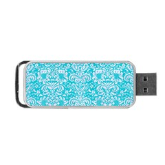 Damask2 White Marble & Turquoise Colored Pencil Portable Usb Flash (one Side) by trendistuff