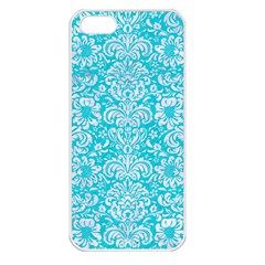 Damask2 White Marble & Turquoise Colored Pencil Apple Iphone 5 Seamless Case (white) by trendistuff