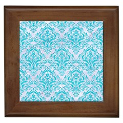 Damask1 White Marble & Turquoise Colored Pencil (r) Framed Tiles by trendistuff