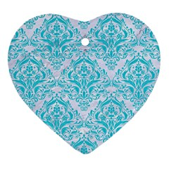 Damask1 White Marble & Turquoise Colored Pencil (r) Heart Ornament (two Sides) by trendistuff