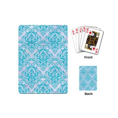 Damask1 White Marble & Turquoise Colored Pencil (r) Playing Cards (mini)  by trendistuff