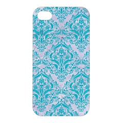 Damask1 White Marble & Turquoise Colored Pencil (r) Apple Iphone 4/4s Hardshell Case by trendistuff