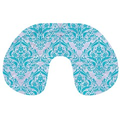 Damask1 White Marble & Turquoise Colored Pencil (r) Travel Neck Pillows by trendistuff