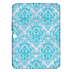 Damask1 White Marble & Turquoise Colored Pencil (r) Samsung Galaxy Tab 3 (10 1 ) P5200 Hardshell Case  by trendistuff