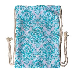 Damask1 White Marble & Turquoise Colored Pencil (r) Drawstring Bag (large) by trendistuff