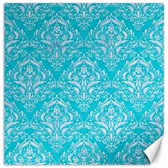 Damask1 White Marble & Turquoise Colored Pencil Canvas 12  X 12   by trendistuff