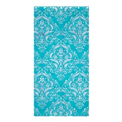 Damask1 White Marble & Turquoise Colored Pencil Shower Curtain 36  X 72  (stall)  by trendistuff