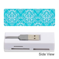 Damask1 White Marble & Turquoise Colored Pencil Memory Card Reader (stick)  by trendistuff