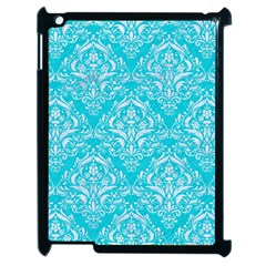 Damask1 White Marble & Turquoise Colored Pencil Apple Ipad 2 Case (black) by trendistuff