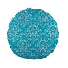 Damask1 White Marble & Turquoise Colored Pencil Standard 15  Premium Round Cushions by trendistuff