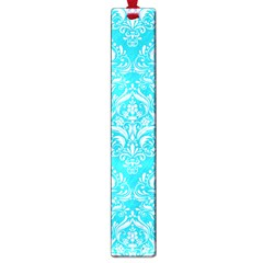 Damask1 White Marble & Turquoise Colored Pencil Large Book Marks by trendistuff