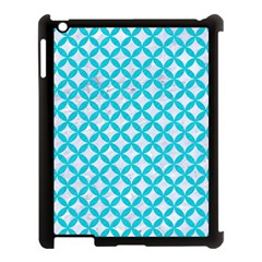 Circles3 White Marble & Turquoise Colored Pencil (r) Apple Ipad 3/4 Case (black) by trendistuff