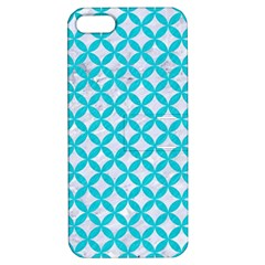 Circles3 White Marble & Turquoise Colored Pencil (r) Apple Iphone 5 Hardshell Case With Stand