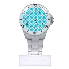 Circles3 White Marble & Turquoise Colored Pencil (r) Plastic Nurses Watch by trendistuff