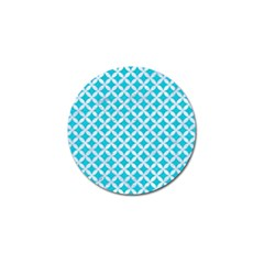 Circles3 White Marble & Turquoise Colored Pencil Golf Ball Marker (4 Pack) by trendistuff