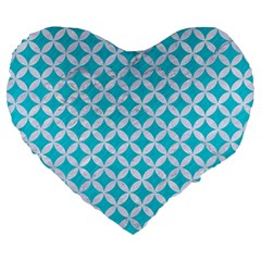 Circles3 White Marble & Turquoise Colored Pencil Large 19  Premium Heart Shape Cushions by trendistuff
