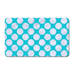 Circles2 White Marble & Turquoise Colored Pencil Magnet (rectangular) by trendistuff
