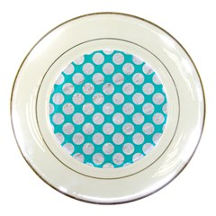 Circles2 White Marble & Turquoise Colored Pencil Porcelain Plates by trendistuff